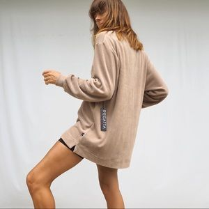 TAUPE TERRY TOWEL QUARTER ZIP PULL OVER